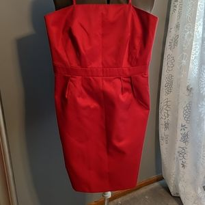 French Connection red sheath strapless dress